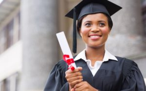 A student or graduate happy with a successful career choice
